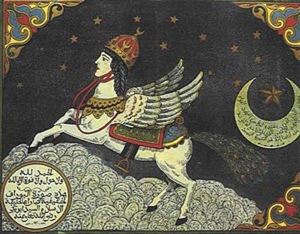 Subida al cielo de Mahoma desde la explanada de Al-Aqsa