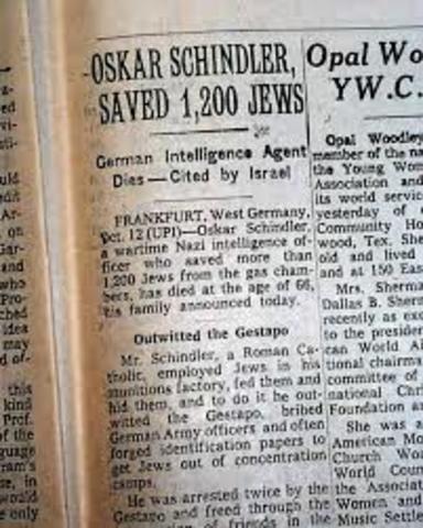Schindler's life-savings list