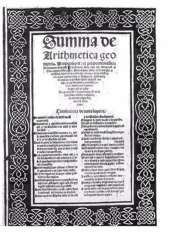 """Fray Luca de Paciolo publica su tratado """"Summa de arithmetica geometria""""."""