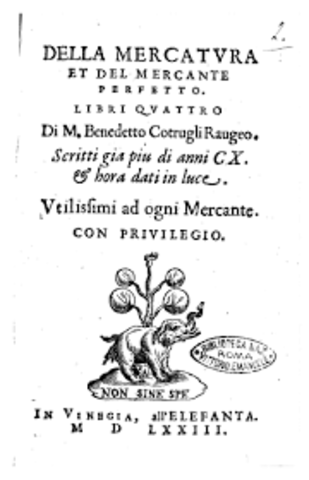 """Della Mercadetura et mercante perfetto"" establece 3  libros: ""cuaderno ( mayor)"", ""giomale (diario)"", ""memoriale""."