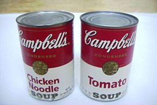 Serie de latas de sopa