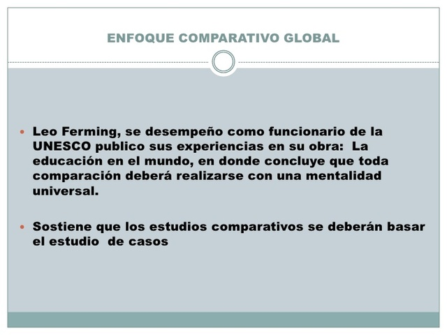 Enfoque comparativo Global ( Leo Ferming )