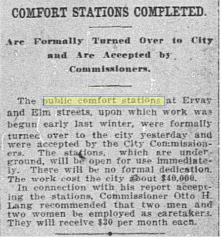 """Public comfort stations"" at Elm & Live Oak"