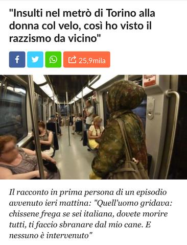 Insulti nel metrò di Torino ad una donna col velo
