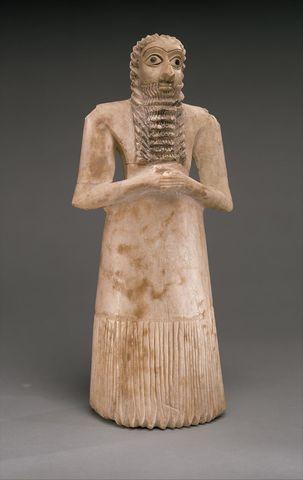 Name: Standing Male Worshipper Tell Asmar. Period: Ancient Mesopotamia c. 3000 B.C.E. - 400 C.E. Date: 2900 B.C.E. - 2500 B.C.E.