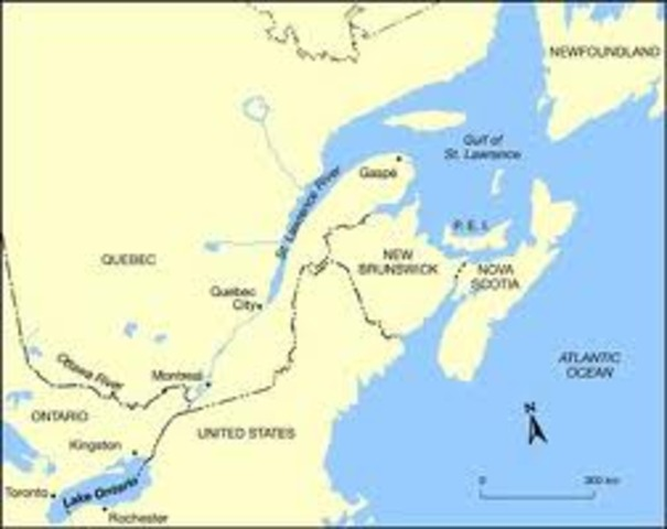Jacques Cartier enters the St. Lawrence River. Land in Great Lakes claimed for France.