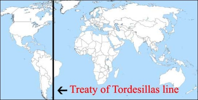 Spain and Portugal sign Treaty of Tordesillas