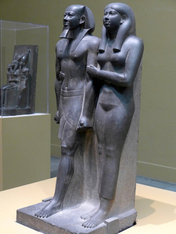 Name: King Menkaure (Mycerinus) and queen. Period: Ancient Egypt Date: 2490–2472 B.C.E.