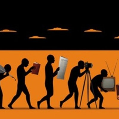 Evolution of Traditional to New Media timeline