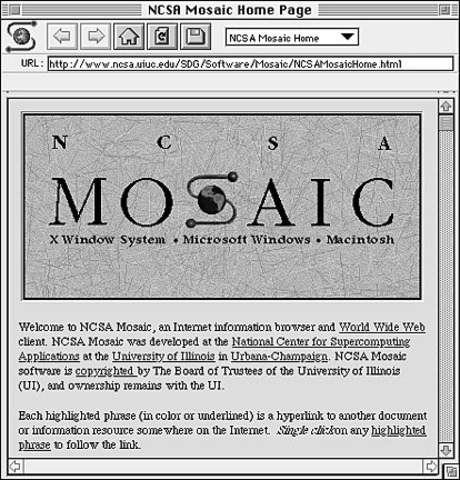 Mosaic-GUI browser. Developers go on to create Netscape Navigator and Microsoft buy the Mosaic Licence