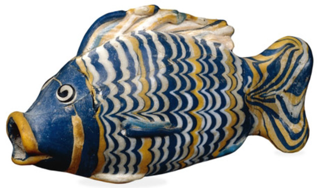 Name: Glass bottle in the form of a fish Period: Ancient Egypt  Date: c. 1390-1336 B.C.E.