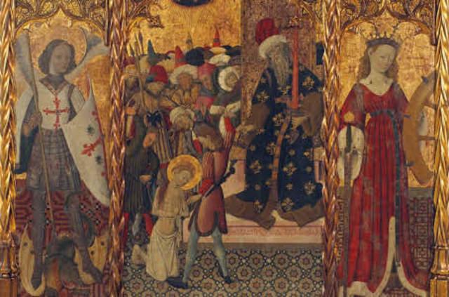 Name:Saint Michael, Martyrdom of Saint Eulalia and Saint Catherine. Period: Gothic. Artist:  Bernat Martorell. Date:1442–1445