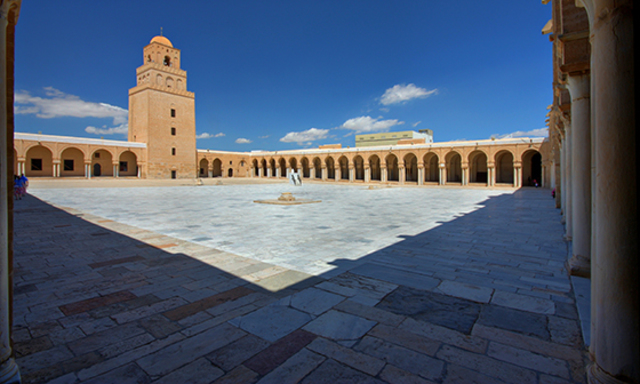 Name:The Great Mosque of Kairouan. Period:Art of Islamic world. Date: c. 836-690