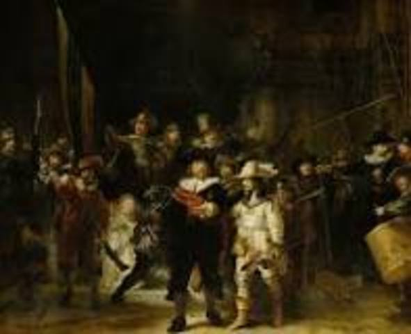 Name:The Night Watch. Period: Baroque. Artist:Rembrandt. Date:1642