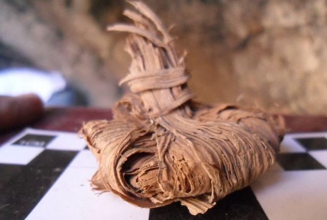 Productos agrícolas en hojas de palma
