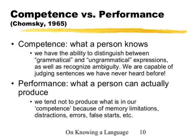 Chomsky - Performance vs. Competence