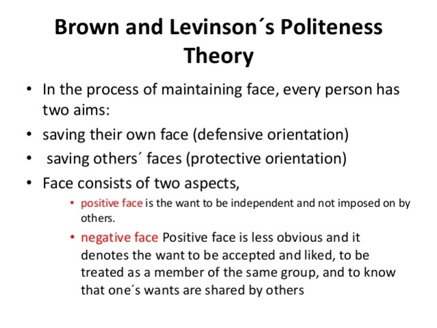 Brown & Levinson - Politeness Theory