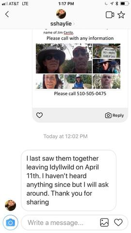Seen leaving Idyllwild