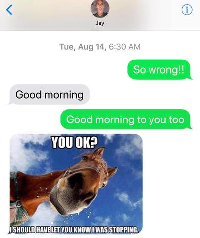 Jim texts Marlene with photos