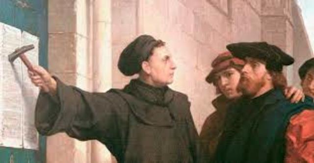 Martin Lurther nailed the 95 theses to a church door