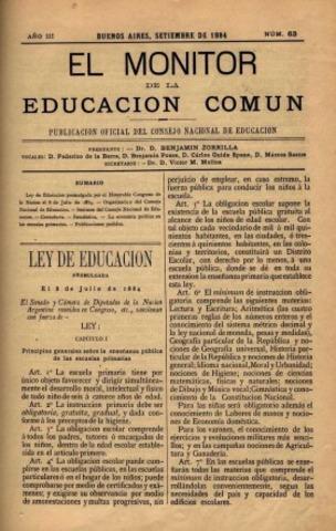 Aprobación de la Ley 1420 de Educación Común