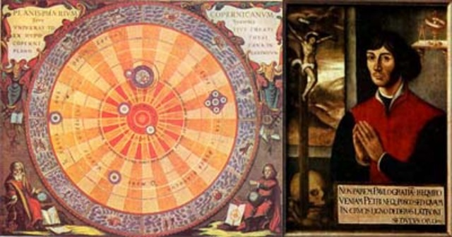 """1543: Se publica (después de su muerte) la obra """"De revolutionibus orbium coelestium"""" de Copérnico (modelo heliocéntrico del universo)"""