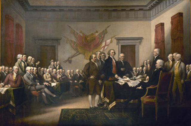 """""""Independence Day""""Les 13 colonies affirment que les peuples ont le droit de résister à l'oppression et de changer de gouvernement. C'est l'affirmation du droit naturel et de la souveraineté populaire."""