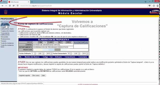 Captura de calificaciones en SIIAU
