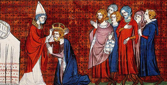 Charlemagne couronné par le pape à Rome : naissance de la question des deux pouvoirs