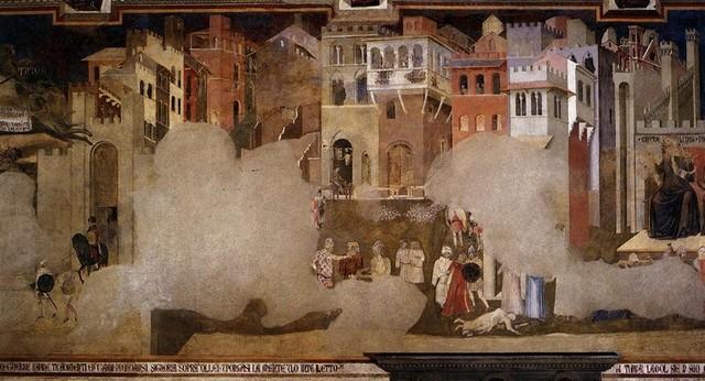 La peste ravage la cité de Sienne (tuant Lorenzetti).