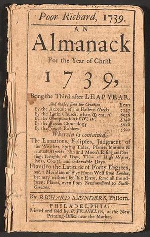 Benjamin Franklin Published Poor Richard's Almanack