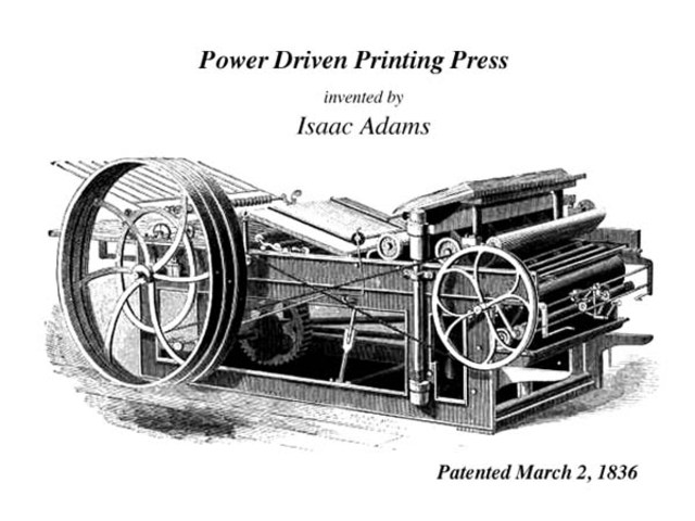 First use of steam-powered printing press