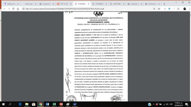 Contrato construccion de las instalaciones para la Asociación Nacional de Raquetbal