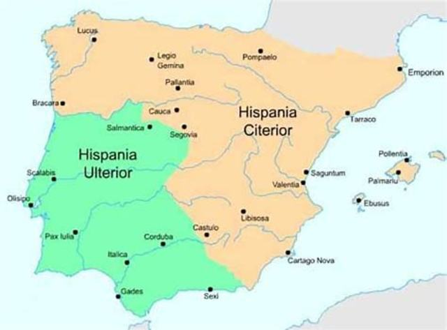 204 a. C División provincial de Hispania : Citerior y Ulterior