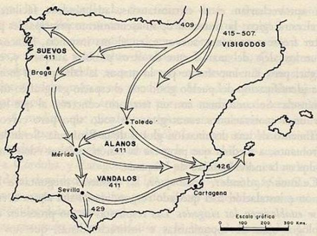 409 d.C. Invasiones de suevos, vándalos y alanos.
