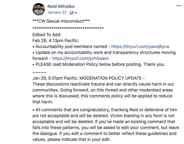 Reid Posts Public Apology on Facebook