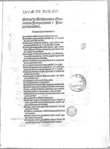 """Publicación de """"Summa de aritmética, geométria, proportioni et proportionalita""""."""