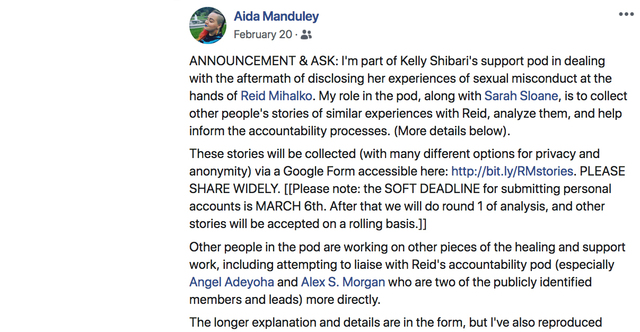 Aida Manduley Announces Kelly's Support Pod