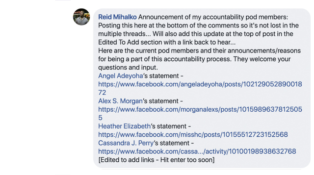 Reid's Accountability Pod Members Announced