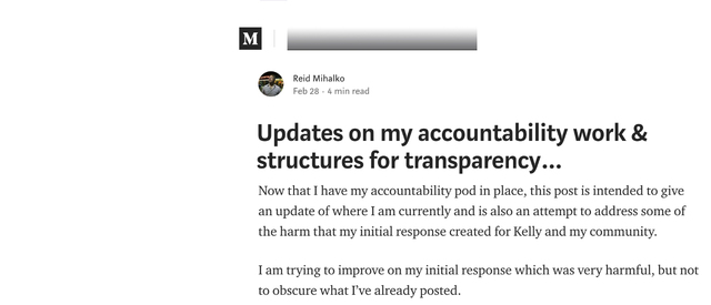 Reid's Accountability Process Blog Goes Live