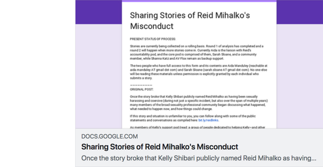 "Soft Deadline for Submitting Anonymous Reporting to ""Sharing Stories of Reid Mihalko's Misconduct"" Form"