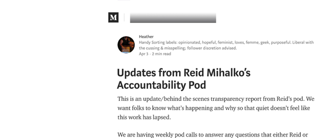"Reid's Pod Publishes Their 1st Update - ""Updates from Reid Mihalko's Accountability Pod"""