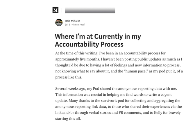 "Reid Publishes 4th Update - ""Where I'm at Currently in my Accountability Process"" published on Medium.com."