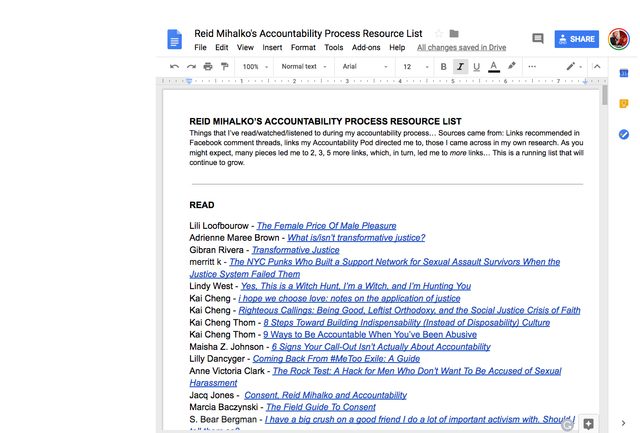 Reid's Accountability Process Resource List made public