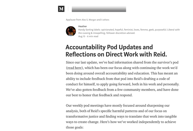 "Reid's Pod Publishes 3rd Update - ""Accountability Pod Updates and Reflections on Direct Work with Reid"""