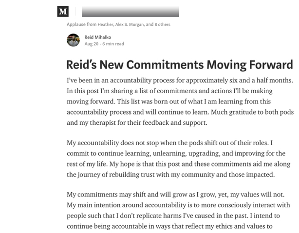 "Reid Publishes 6th Update - ""Reid's New Commitments Moving Forward"""