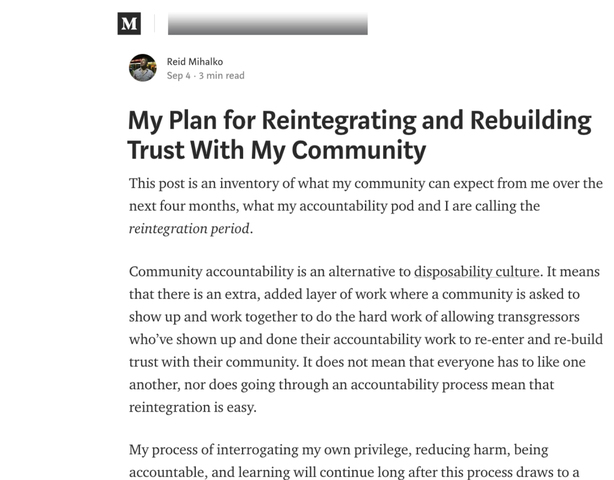 "Reid Publishes 7th Update - ""My Plan for Reintegrating and Rebuilding Trust With My Community"""