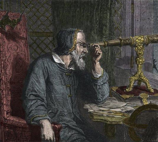 Galileo Galilei bygger sin stjernekikkert.