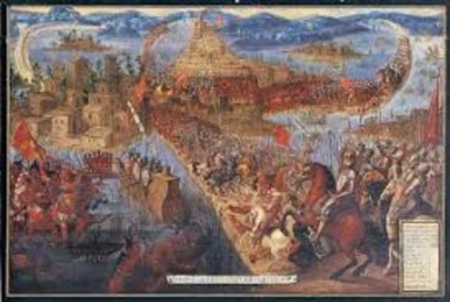Caiguda de la ciutat azteca de Tenochitan contra els Espanyols