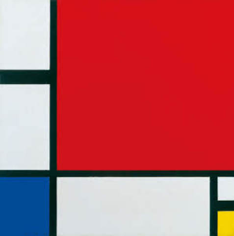 Compositie 2 in rood blauw en geel ~ piet Mondriaan